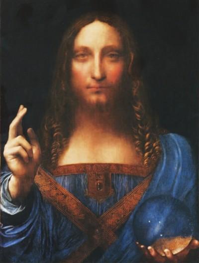 问鼎世界艺术品拍卖纪录的达·芬奇《救世主》(局部),约合人民币30亿元