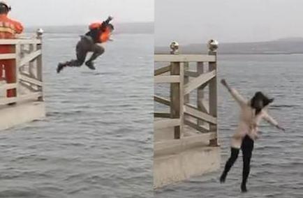 消防官兵10米高塔纵身一跃 冰水中救下轻生女子