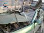 郑州一出租车追尾大货车损毁严重 司机受伤送医