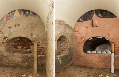 俄罗斯女画家以破败墙壁作画走红网络
