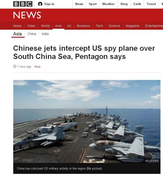 """美国国防部称,两架中国飞机以""""不安全""""方式"""