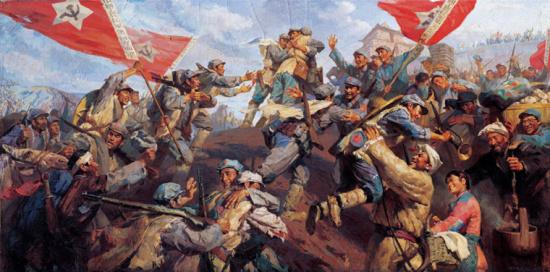 油画《三军大会师》,331×166厘米,1977年,绘