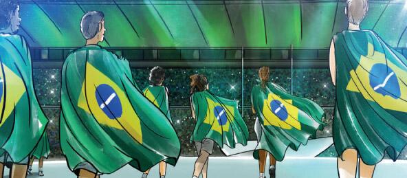 里约奥运会开幕式精彩瞬间:升巴西国旗奏国歌