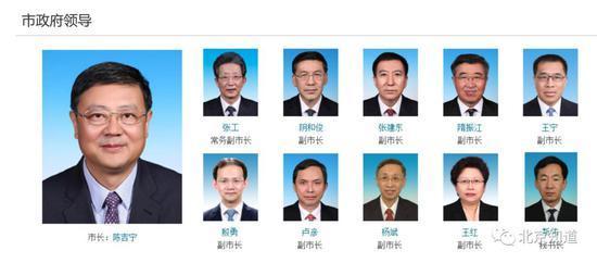 北京市市长、副市长、市政府秘书长。首都之窗截图