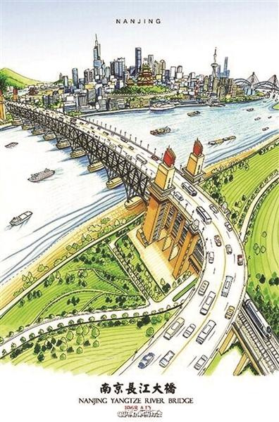 一组南京地标建筑手绘图在微博热传