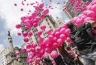 巴西女性放飞粉气球