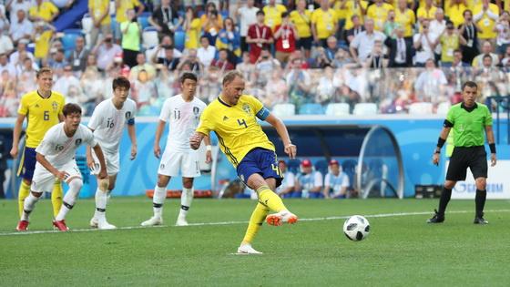 拒绝零进球VAR判点队长罚进 瑞典1-0韩国