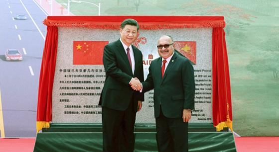 习近平和奥尼尔出席中国援建独立大道启用仪式