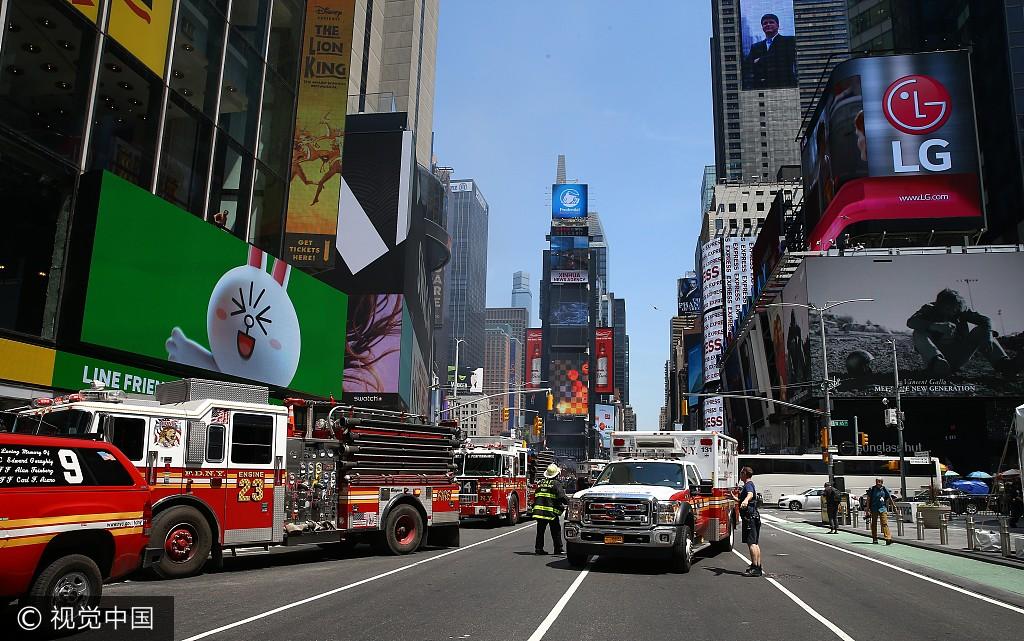 直击 纽约时报广场汽车冲撞行人事件现场图片