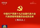 中共第十九次全国代表大会代表资格审查委员会名单