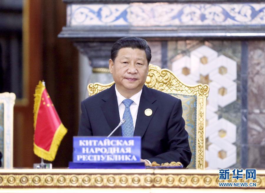 2014年 9月12日,上海合作组织成员国元首理事会第十四次会议在塔吉克斯坦首都杜尚别举行。习近平出席会议并发表重要讲话。来源:新华社