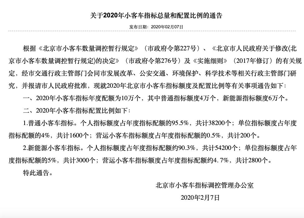 2020北京小客车指标发布:新能源6万个 普通指标4万个