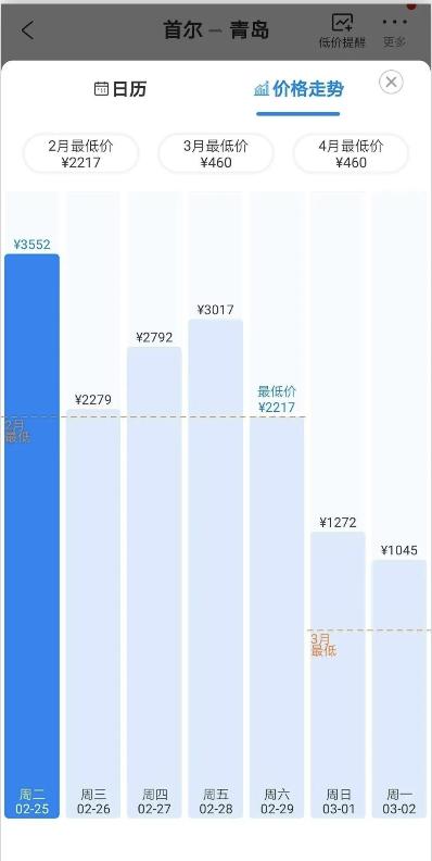 某售票平台显示的2月首尔至青岛航班价格