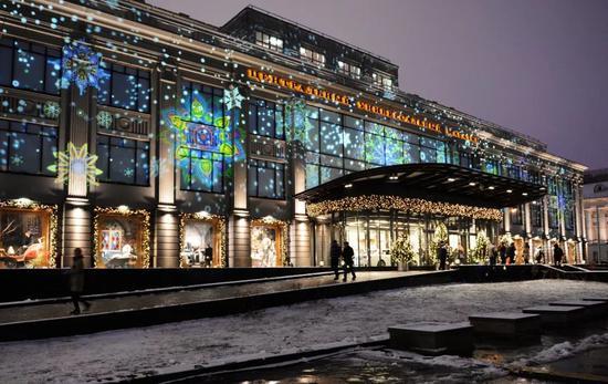 莫斯科中央百货商店夜景。新华社外代图片